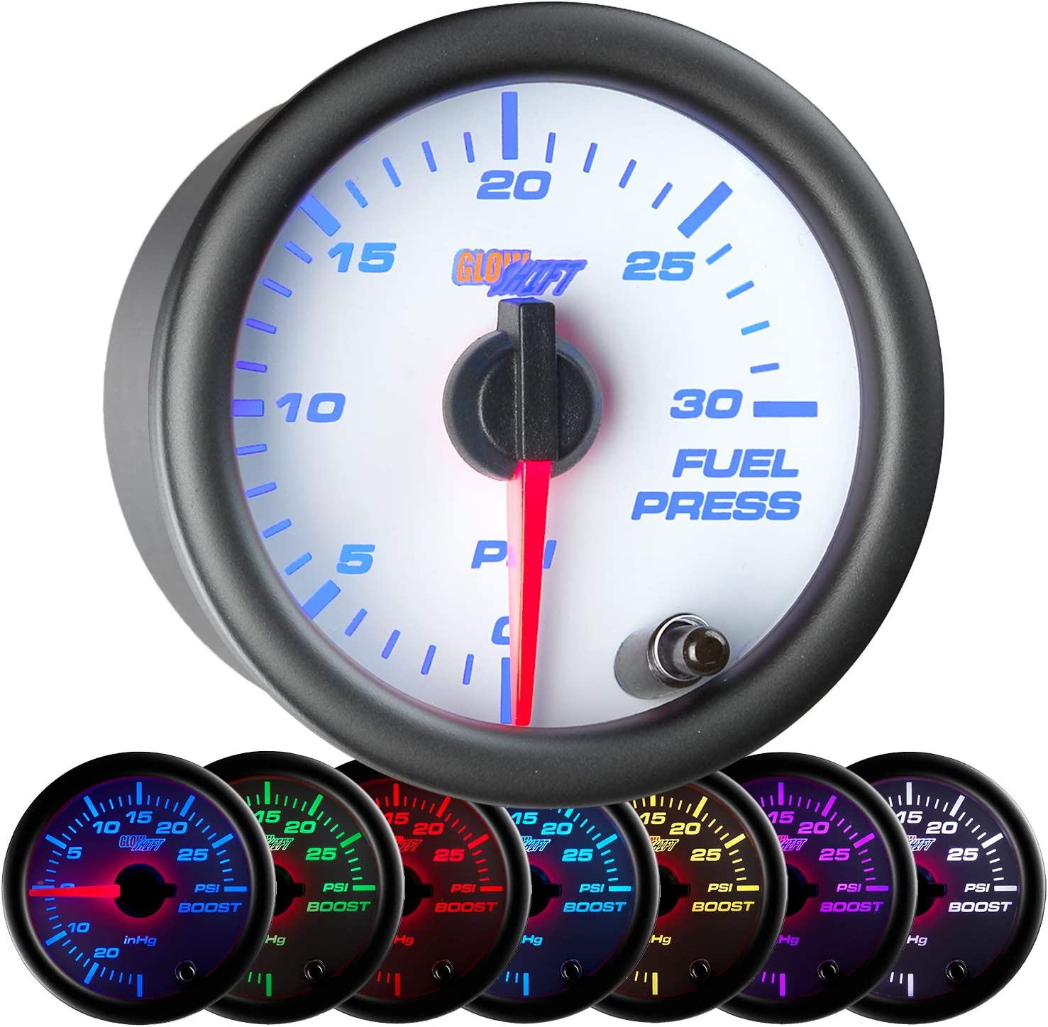 "GlowShift White 7 Color 30 PSI Fuel Pressure Gauge Kit - Includes Electronic Sensor - White Dial - Clear Lens - for Diesel Trucks - 2-1/16"" 52mm"