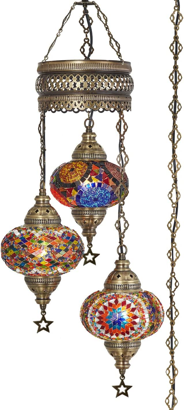 Demmex 2019 Turkish Moroccan Mosaic Hardwired OR Swag Plug in Chandelier with 15feet Cord Cable Chain 3 Big Globes Multicolor Multicolor Plug in