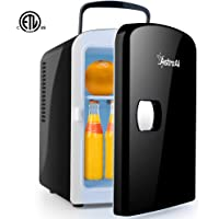 AstroAI Mini Fridge Portable AC/DC Powered Thermoelectric System Cooler and Warmer 4 Liter/6 Can for Cars, Homes, Offices, and Dorms,Black