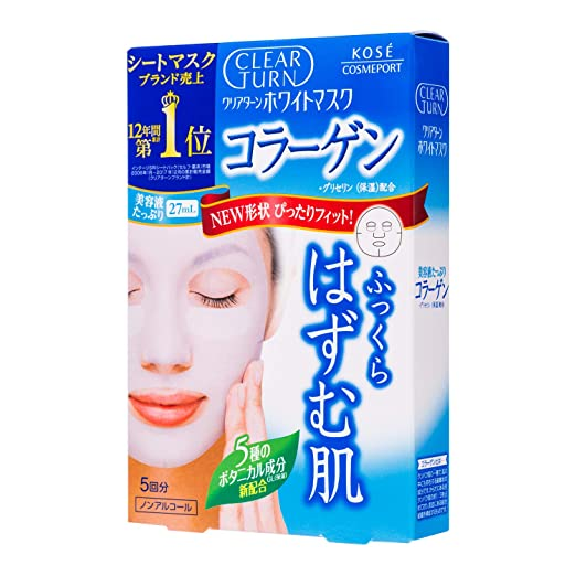 Kose Cosmeport Clear Turn Face Mask White Collagen 5 Sheets