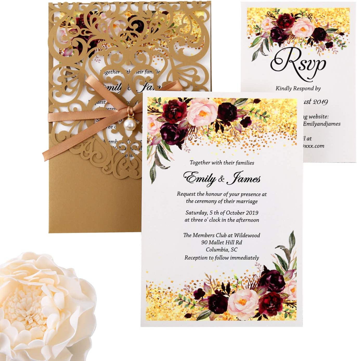 DreamBuilt 3.3X3 Inch 3PCS Blank Laser Cut Gold Wedding Invitations With  Rsvp Cards And Envelopes And Ribbon Belly Band Pearl Embellishments Wedding