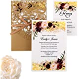 DreamBuilt 5X7.2 Inch 50PCS Blank Laser Cut Gold Wedding Invitations With Rsvp Cards And Envelopes And Ribbon Belly Band…