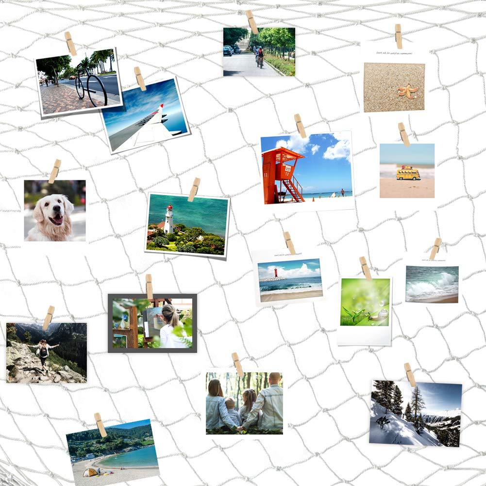 30 Pz Mollette di Legno Clip per Foto da Parete Wall Decor 2 * 1,5m // Beige Foto Appendere Wall di Display Cizen Rete da Pesca Decorativa