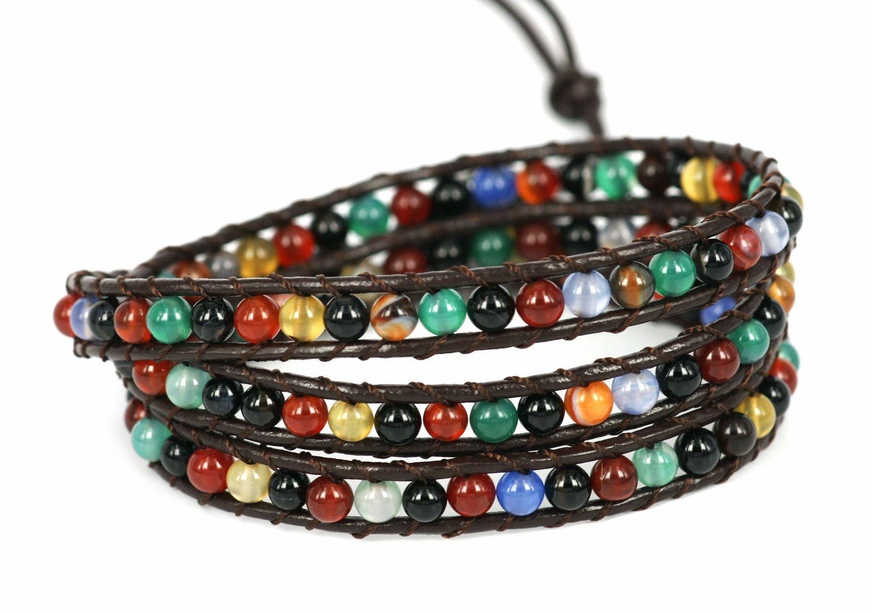 BLUEYES COLLECTION 3 Wrap Genuine Leather Bracelet Gemstone Bead (Multi-Color)