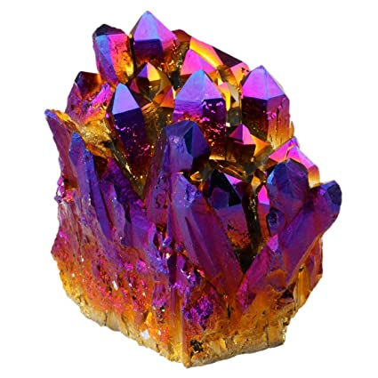Shanxing Violet Titanium Coated Crystal Cluster Specimen,Healing Reiki  Energy Natural Gemstone Figurine Home Decor 2