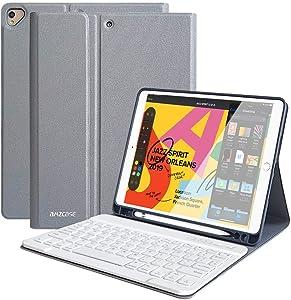 "iPad Keyboard Case for New iPad 10.2 8th 7th Gen 2020/2019- iPad Air 3 10.5"" 2019- iPad Pro 10.5"" 2017- Detachable Wireless Bluetooth Keyboard- Magnetic Smart Case with Pencil Holder (Glitter Grey)"
