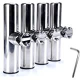 """Amarine Made 4Pcs Marine Grade Stainless Steel Rail Mounted Clamp on Fishing Rod Holder for Rails 1"""" to 1-1/4"""""""