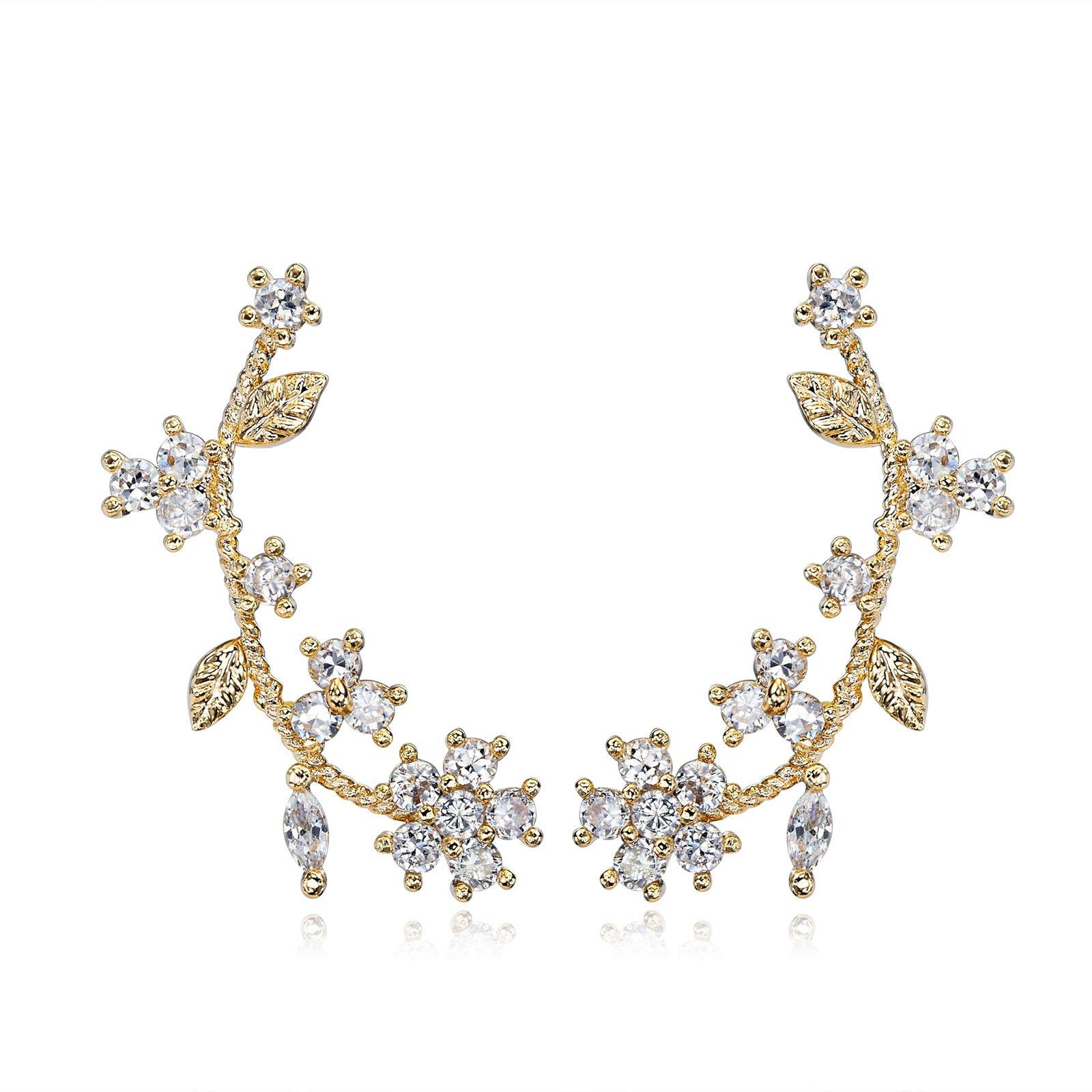 Flower Ear Cuff Earring with S925 Sterling Silver Post for Women - Cubic Zirconia Ear Climber Wrap Earrings Gold Tone