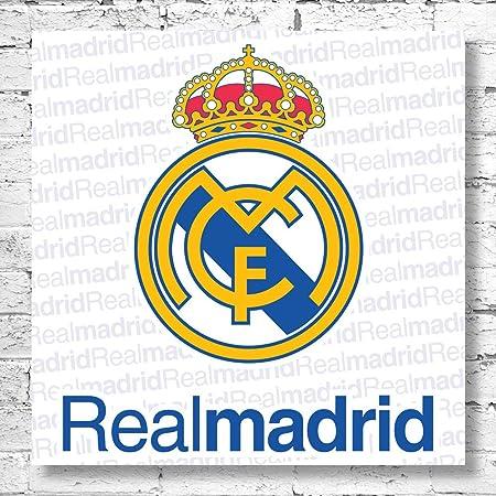 Logo del Real Madrid tamaño grande lienzo decorativo. Classic Club de fútbol de la bandera de España: Amazon.es: Hogar