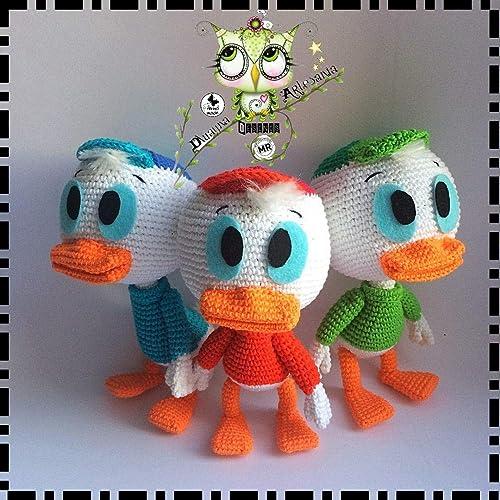 LOS TRES SOBRINOS PATO DONALD AMIGURUMI PERSONALIZABLE (Bebé, crochet, ganchillo, muñeco,