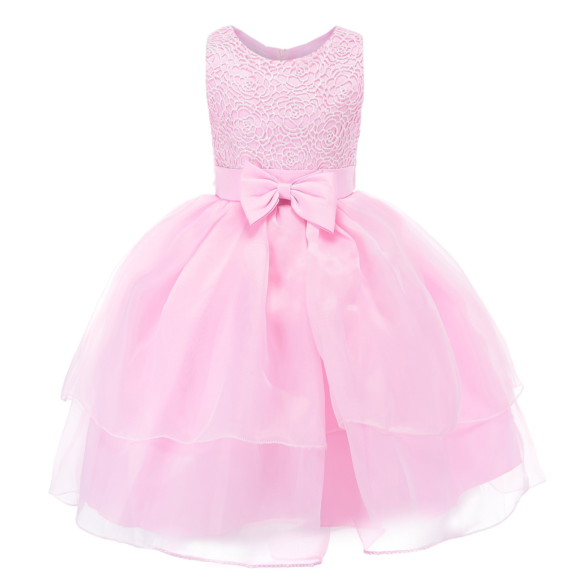 Fiream Flower Girls Dresses Tulle Sleeveless Princess Pageant Wedding Party Dresses(pink,3T/3-4YRS)