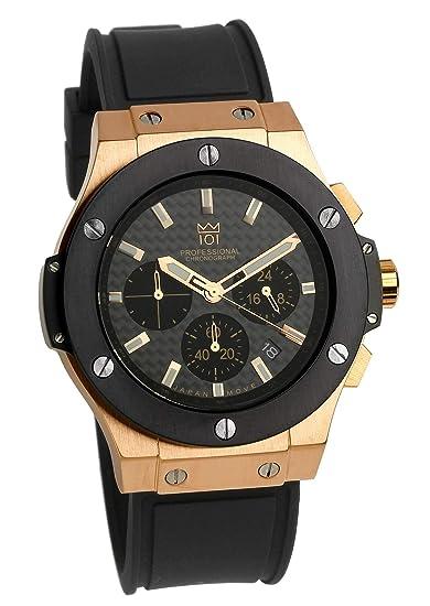best service 6e463 de7e0 [HYAKUICHI 101] 腕時計 ウォッチ 100m防水 ラバーベルト カーボン文字盤 ブラック×ピンクゴールド メンズ
