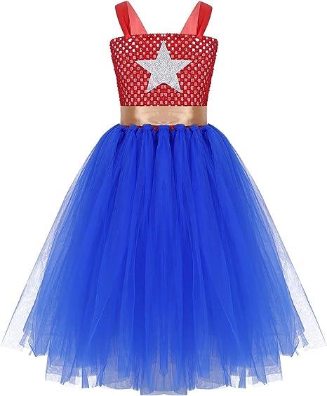 YiZYiF Vestido Súper Girl Disfraces Superheroina Niñas Vestido ...
