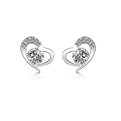 945c5a6c4 JULIANI 18k-Gold-Plated Love Stud Earrings - Fashion Hypoallergenic Heart 2  CTTW Tourmaline | Nickel & Lead Free Jewelry For Women Kids | Girls Teens:  ...
