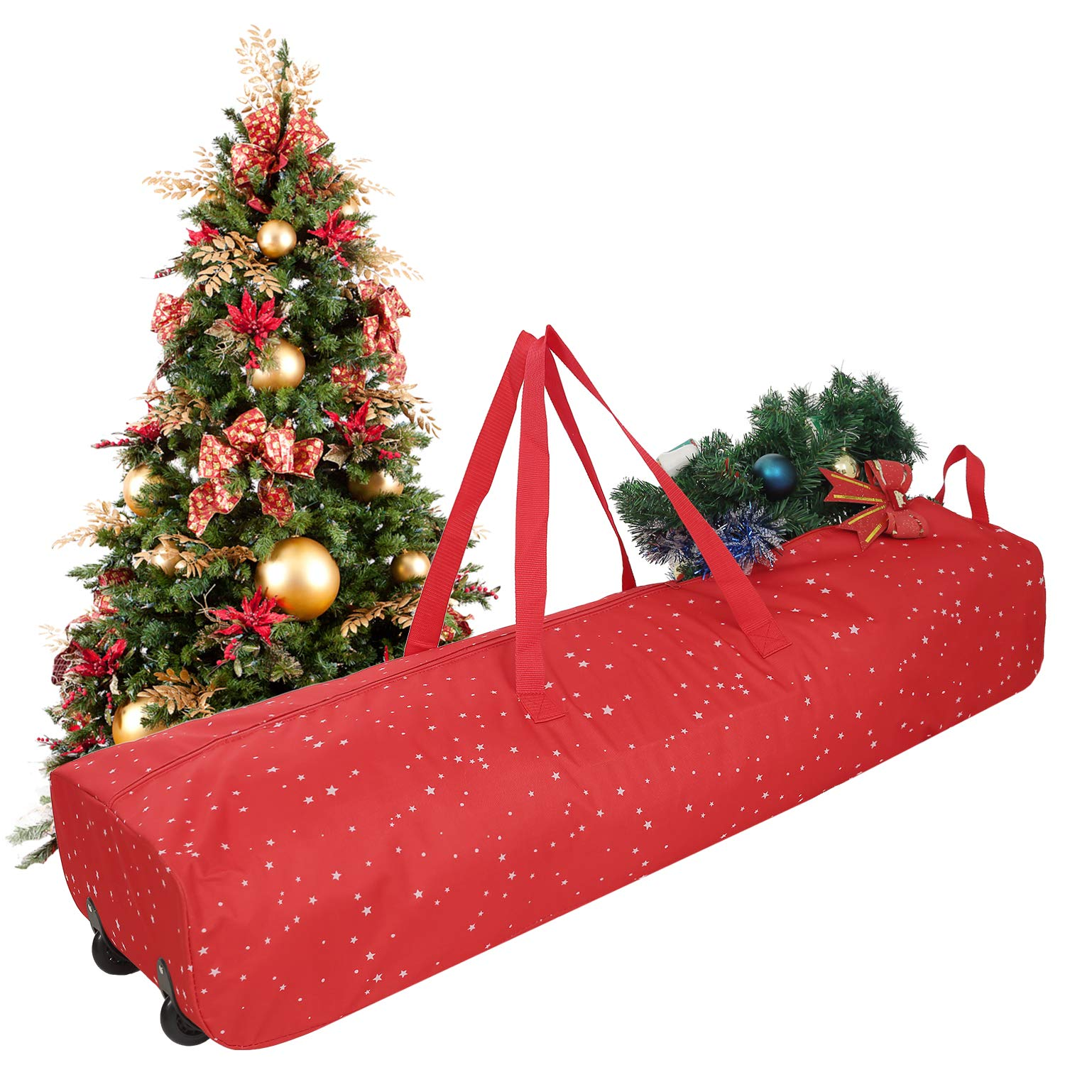 OWNFUN Christmas Tree Storage Bag 600D Oxford Red Bag with Protective Zippered Wheels 4 Feet -Holds Red
