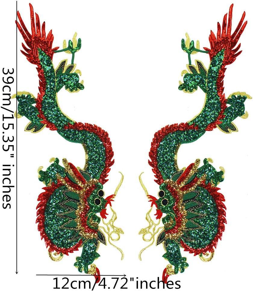 Grandes lentejuelas dragón bordado apliques de tela parches de la ...