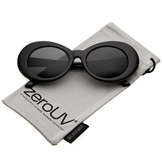 6c33ac969b zeroUV - Bold Retro Oval Mod Thick Frame Sunglasses Clout Goggles with Round  Lens 51mm (