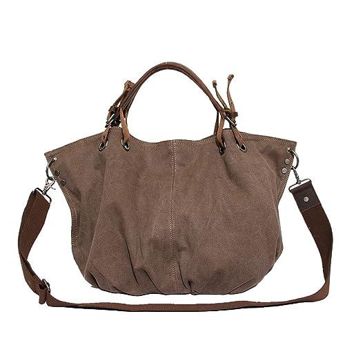 b3283d696c ABage Women s Hobo Handbag Oversized Canvas Leather Crossbody Shoulder Tote  Bag