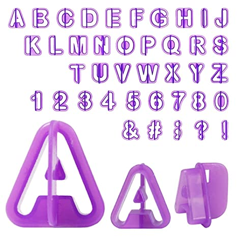 Alphabet letters and numbers cutters for fondant 40 pieces set Cortador letras.