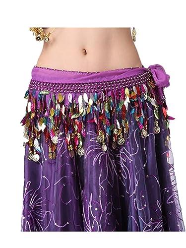 Danza del vientre cadera bufanda Falda accesorios de la danza Tribal 2 filas 88 traje multicolor de ...