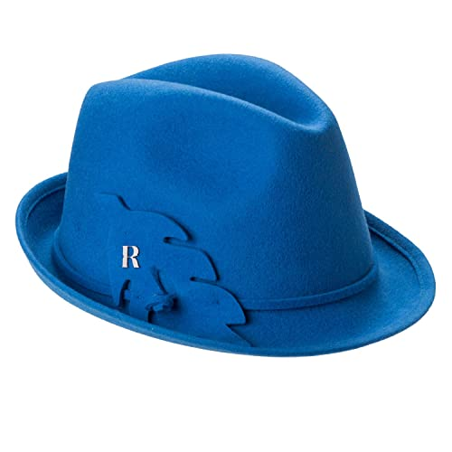80a2a3353c3ee Amazon.com  RACEU ATELIER Royal Hat Blue - Wide Brim Fedora Hat ...