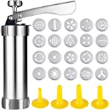 OCEANPAX Cookie Press Machine Stainless Steel Biscuit Maker and Churro Maker with 20 Discs and 4 Icing Tips