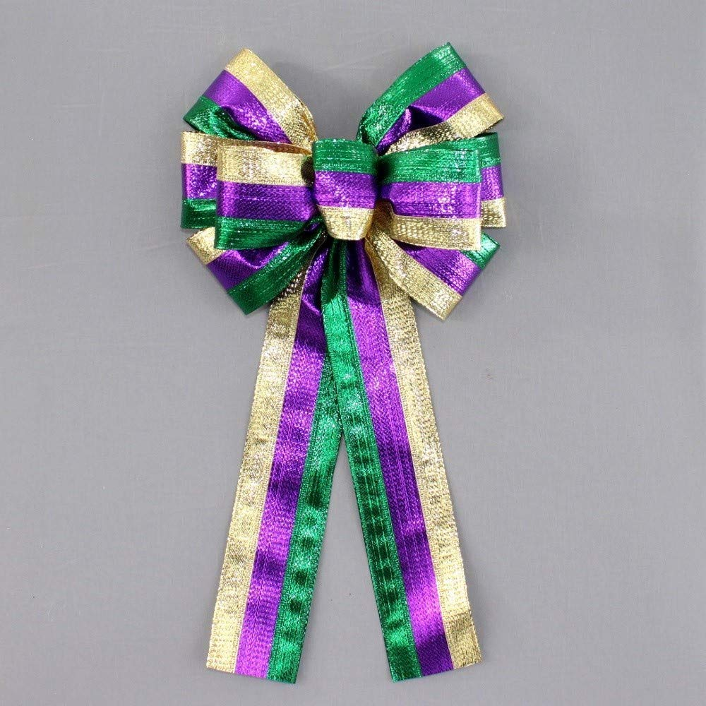 Metallic Trio Stripe Mardi Gras Wreath Bow in 2 Size Options
