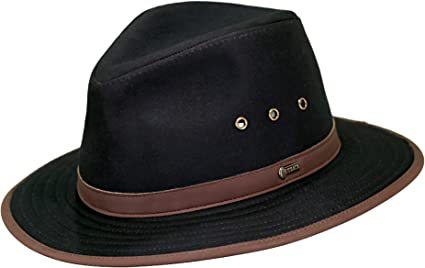 Outback Trading Co Mens Co Madison River Upf50 Sun Protection Oilskin Hat 1462 Black
