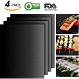 JiaHui Grill Mat - 100% Non-stick BBQ Grill Mats - FDA-Approved, PFOA Free, Reusable and Easy to Clean - Works on Gas , Charcoal , Electric Grill and More - 15.75 x 13 Inch