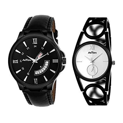 AXTON Black Strap Designer/Partywear Analog Watches for Couple