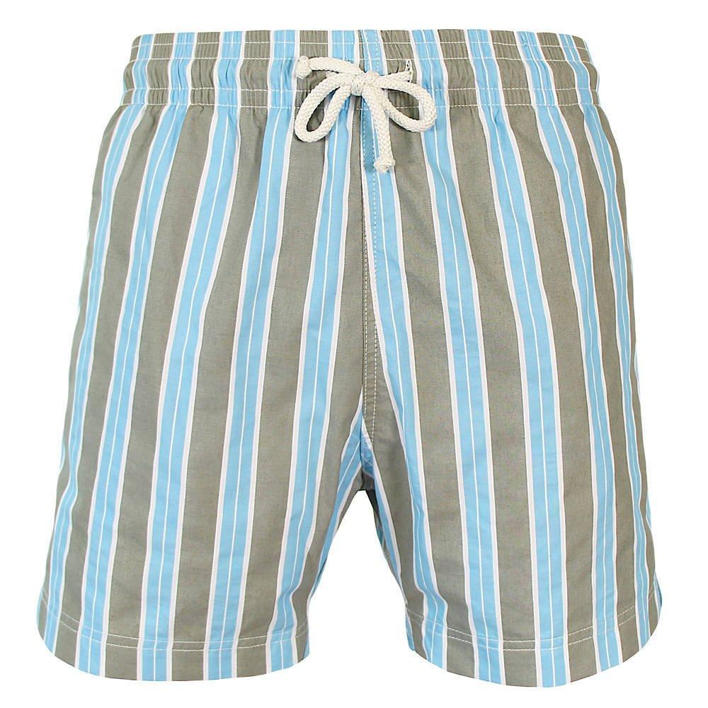 Les loulous de la plage Badeshort und Badehose Herren blau und grau - Jules - Streifen Madras