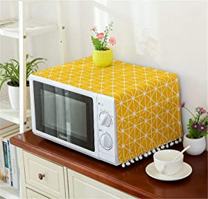 Annchaos Microwave Oven Cover Dust Oil Proof Cloth with Storage Pockets Cotton Linen Kitchen Toaster Appliance Protector (Yellow Checkerboard)