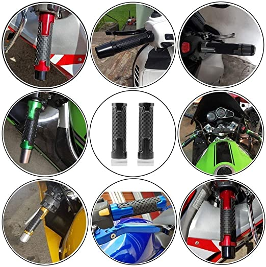 left and 1 24mm Silver 7//8 22mm right Motorcycle CNC Aluminum Soft Rubber Powersports Grips/