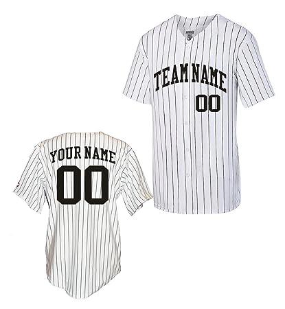 f9bbb06bee1 Amazon.com : OnTheField Custom Pinstripe Baseball Jersey : Clothing