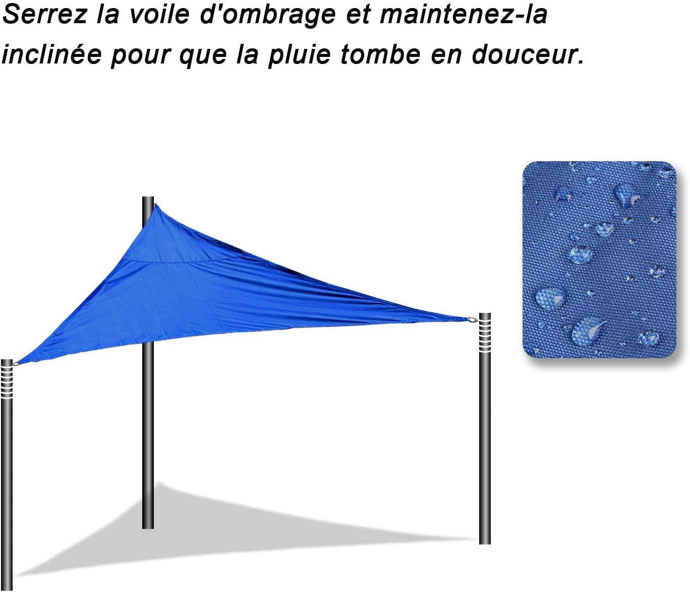 pour Jardin Terrasse Camping,Rose OMNIPRO Voile dombrage Triangulaire 2.4x3M Imperm/éable UV Protection en Polyester