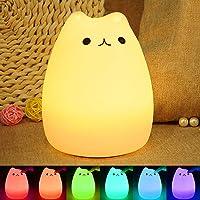 Veilleuse Enfant Chat LED, ikalula Lampe de Chevet e Nuit Portable en Silicone Multicolore LED Veilleuse [Cadeau][Jouets pour Enfants][Tente Camping Lumière] de Nuit USB Rechargeable Veilleuse
