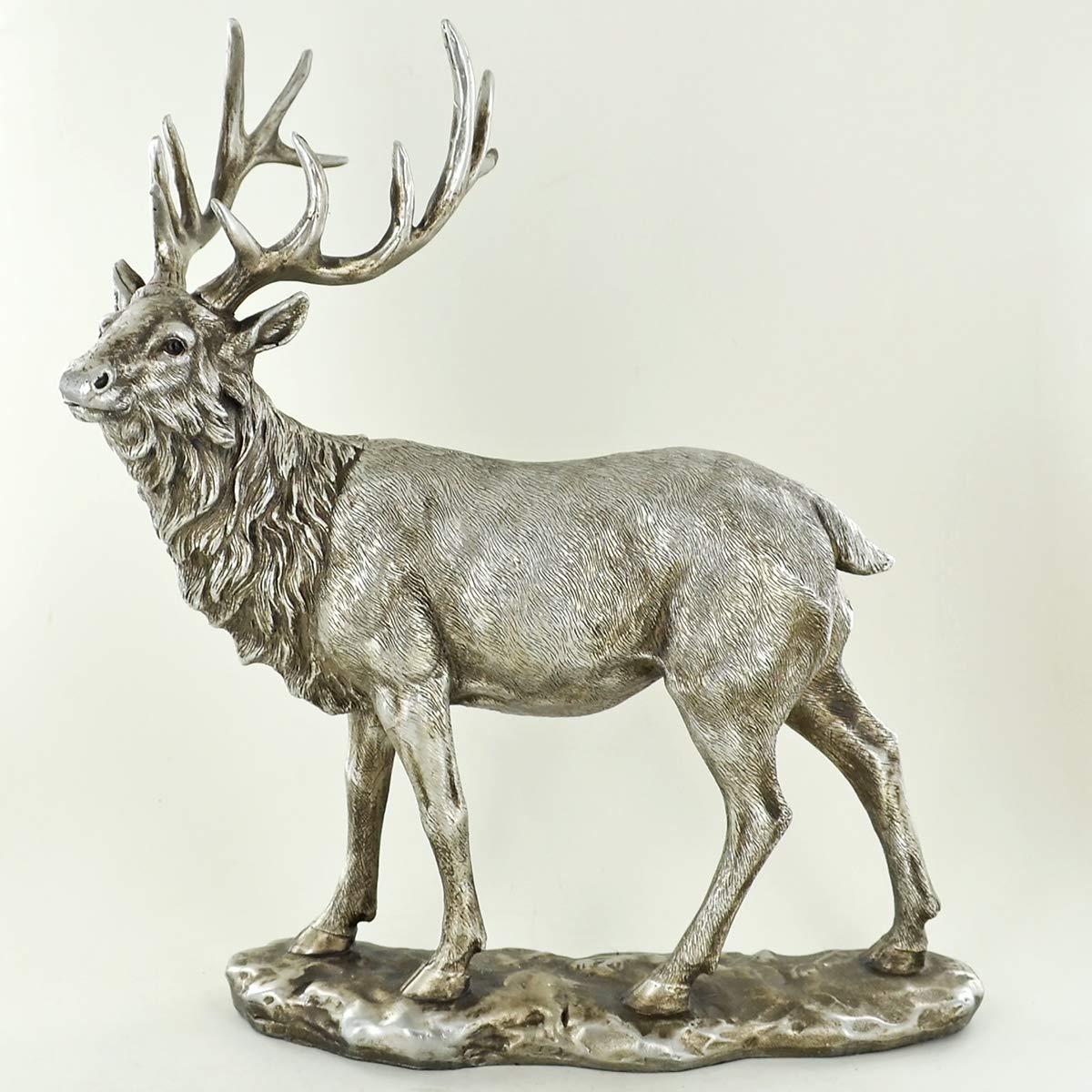 Prezents.com Stag in Antique Silver Sculpture Beautiful Home Decor or Gift Idea H28cm