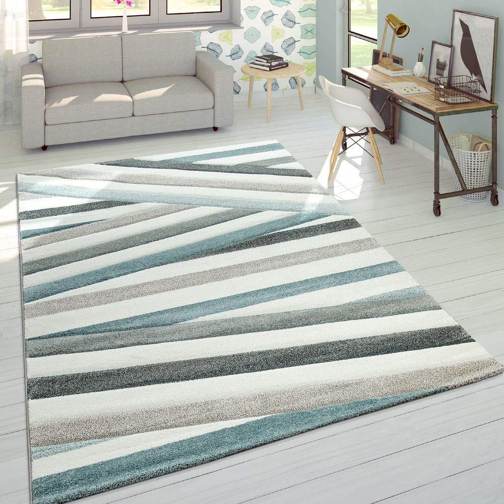 Designer Teppich Modern Konturenschnitt Pastellfarben Gestreift Zick Zack Creme, Grösse 200x290 cm
