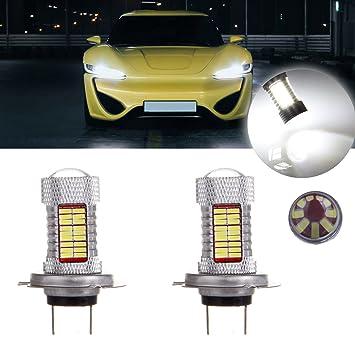 CCIYU 2 unidades de color blanco Super brillante h7 81smd LED bombilla con proyector de luz