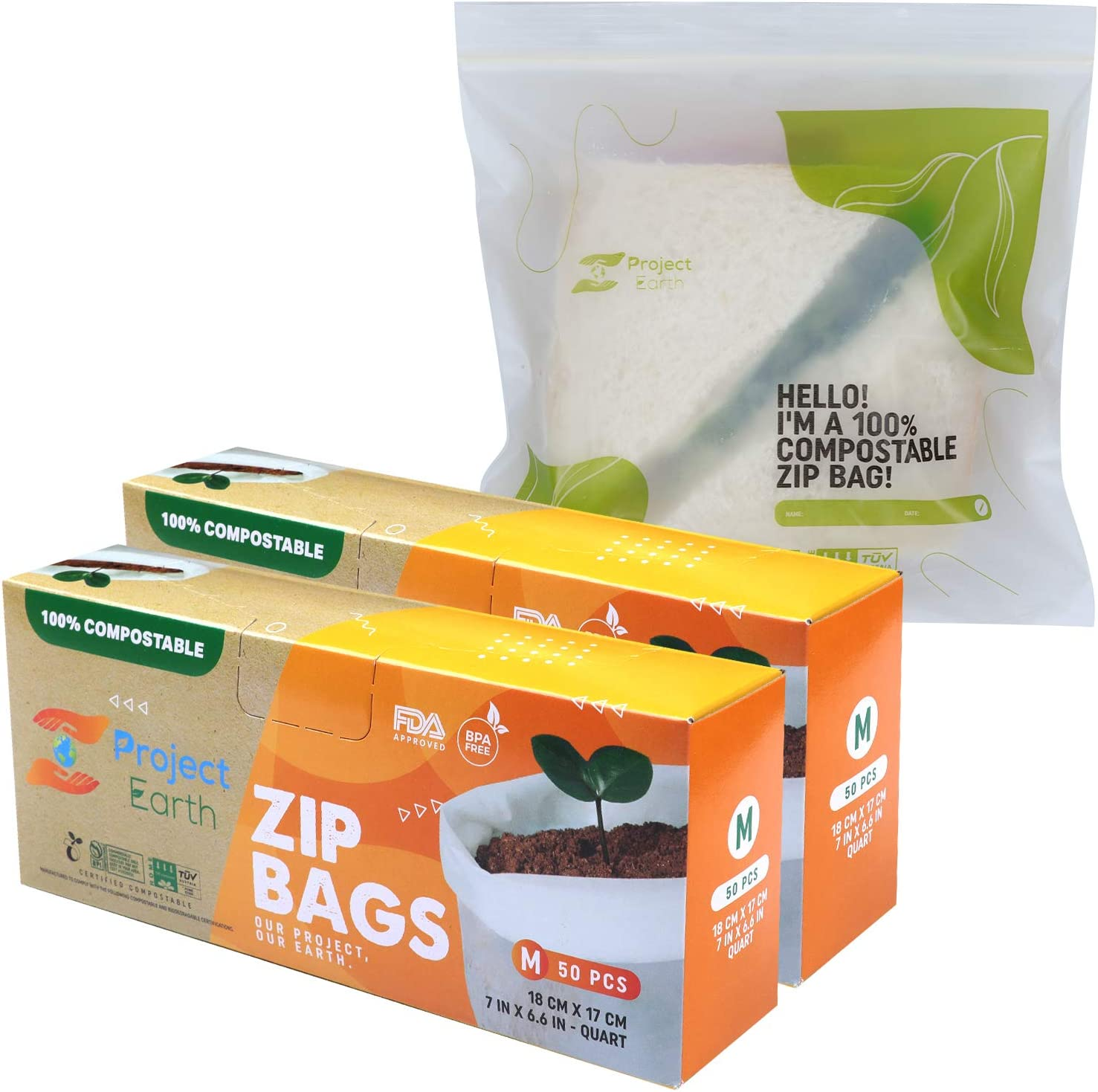 Project Earth Compostable Zip Bags, 100 Count Quart, 2 Pack | Freezer, Sandwich, Food Storage & More | Resealable Lock | Eco Responsible Product |