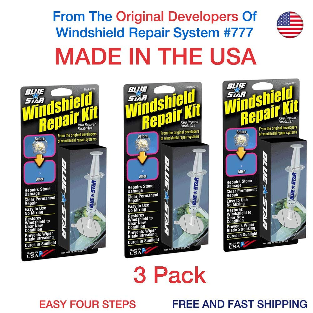 3 Pack Blue-Star Fix Your Windshield Do It Yourself Windshield Repair Kits, Glass Repair KIT Stone Damage CHIP Model # 777 Prevent Stone Damage from Spreading Made in USA