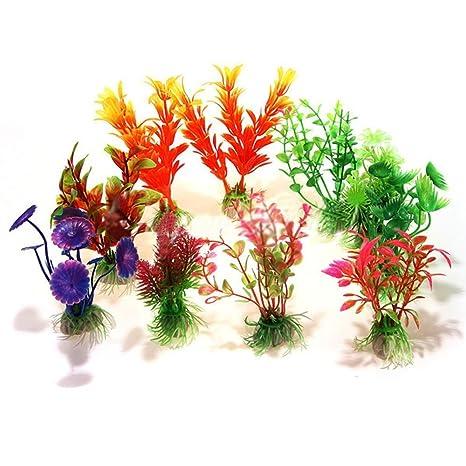 3pcs 10 cm altura artificial de simulación de plantas medio plástico Planta Acuario Decoración Fish Tank