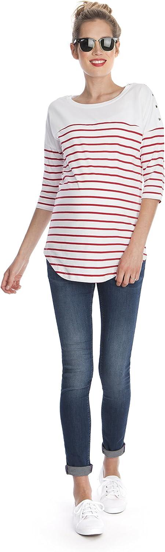 Seraphine Womens Striped Cotton Maternity /& Nursing Top