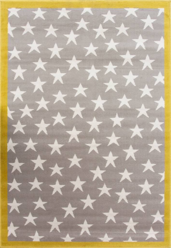 100 Stars Colourful Kids Grey Ochre Designer Childrens Floor Play Area Rug Mat 3'11'' x 5'7'' by The Rug House
