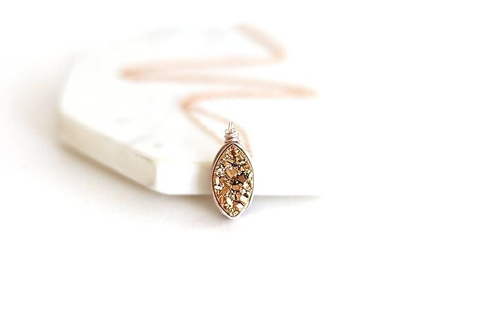 b1b4634cd Amazon.com: Rose gold Druzy Marquise Pendant Necklace: Handmade