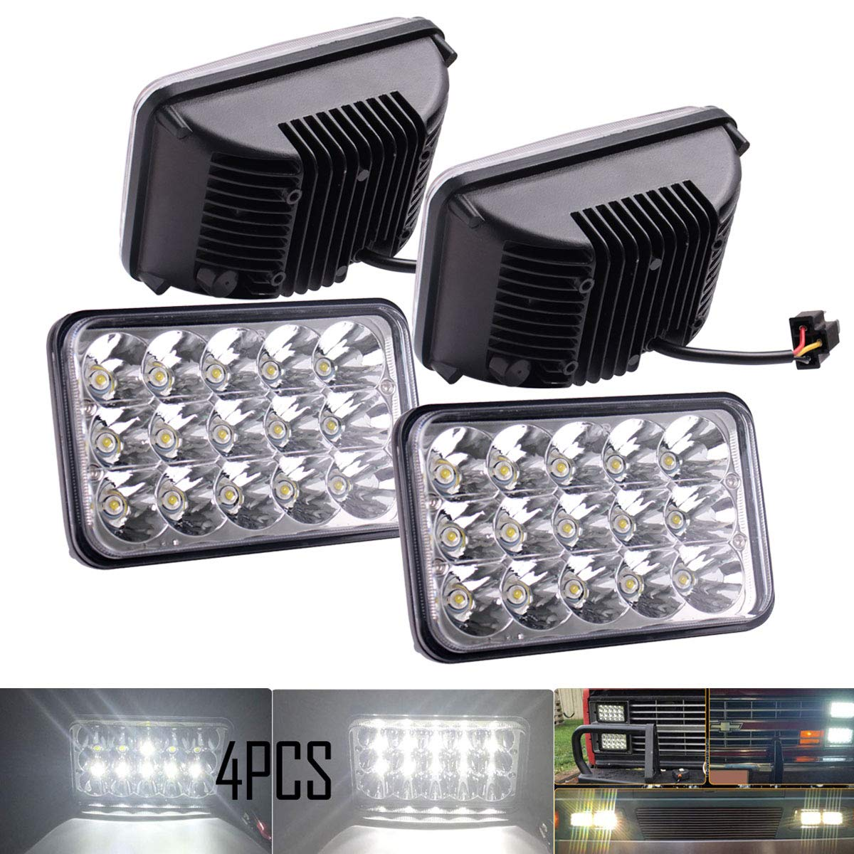 BLIAUTO Compatible with H6054 LED Headlights Jeep Xj Yj Cherokee E250 S10 Toyota Ford Ranger Trucks