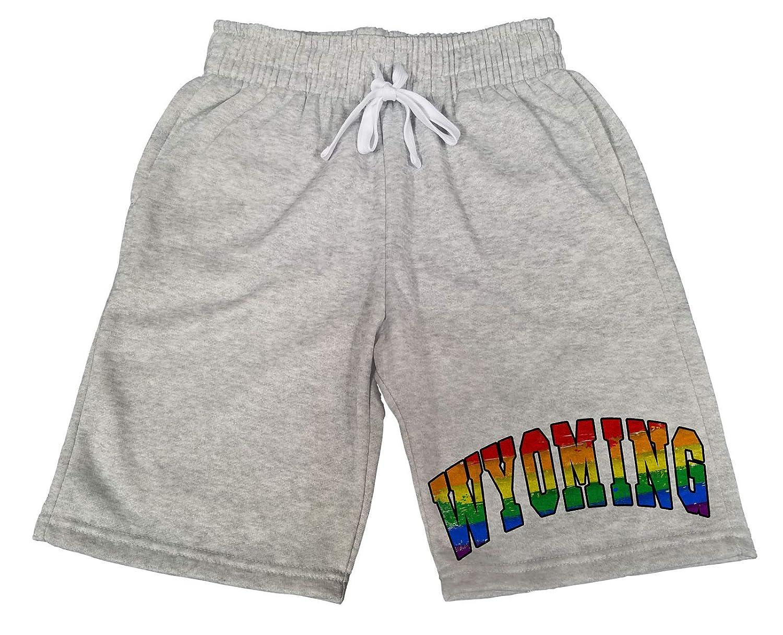 Mens Wyoming Rainbow Pride B1627 Gray Fleece Jogger Sweatpants Gym Shorts