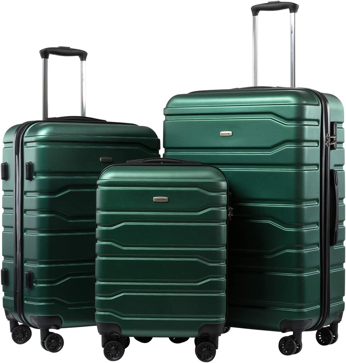 Seanshow Suitcase 3 Piece Set Luggage Set Spinner Suitcase 20 24 28 army green