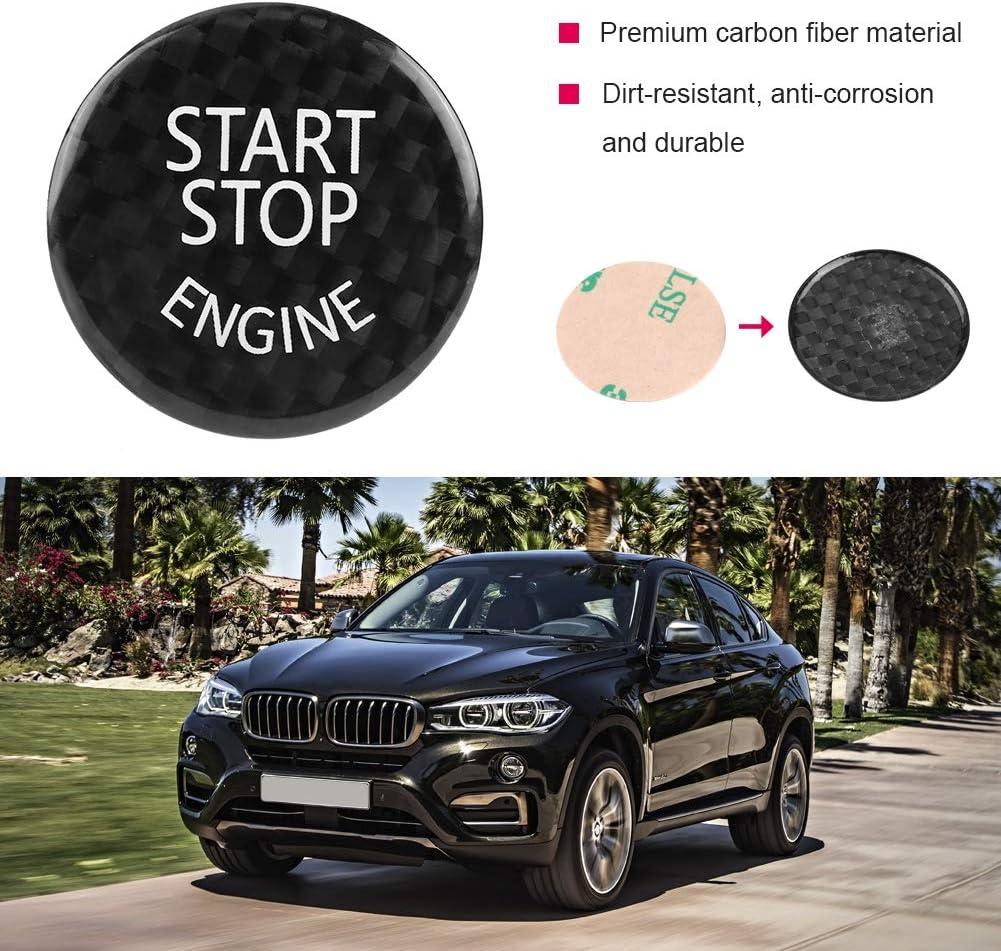 KIMISS Auto Start Stop Button Abdeckung Kohlefaser Auto Motor Start Stop Button Schalter Abdeckung f/ür 1-7 Serie X1 X3-X6 Schwarz