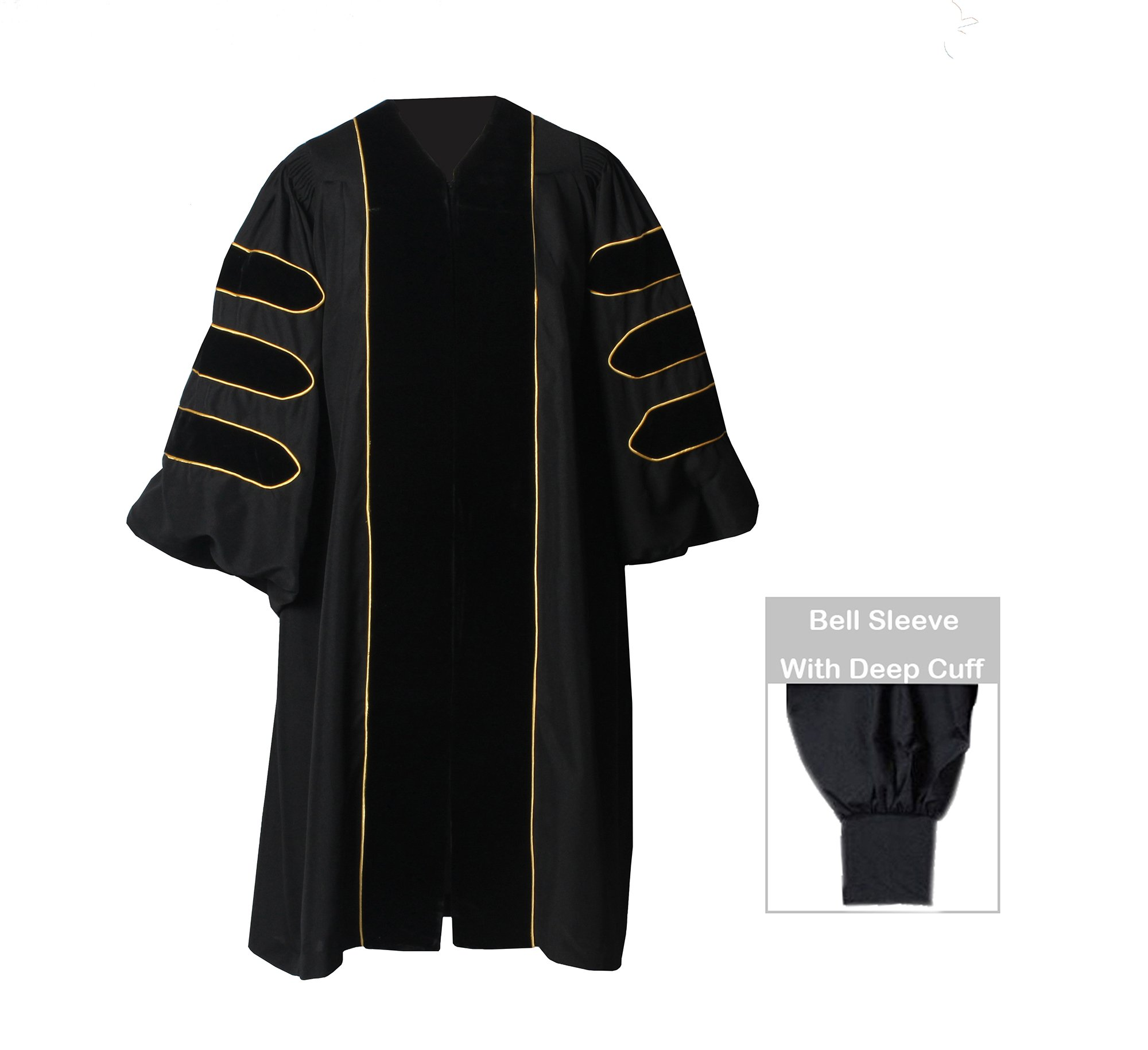 GraduationForYou Doctoral Gown With Velvet and Gold Piping by GraduationForYou